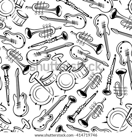 Jazz band or orchestra musical instruments seamless pattern with outlined guitars, drum set, trumpets and clarinets. May be use as concert and festive party background or art and music concept design