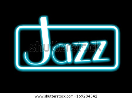 Jazz blue neon on black background vector