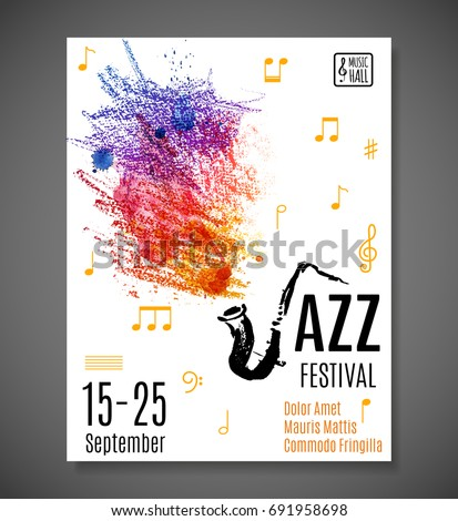 Jazz Blues Festival Poster Music Background Stock Vector 691958698 ...