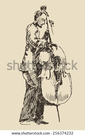 JAZZ concept, man playing the double bass, music vintage illustration, engraved retro style, hand drawn, sketch - stock vector