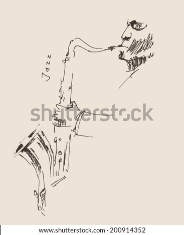 JAZZ concept, music, jazzman vintage illustration, engraved retro style, hand drawn, sketch - stock vector