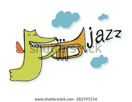 jazz, cute monster plays trumpet in the sky with clouds, vector illustration, character design, isolated - stock vector