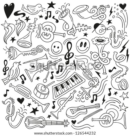 jazz - doodles set - stock vector