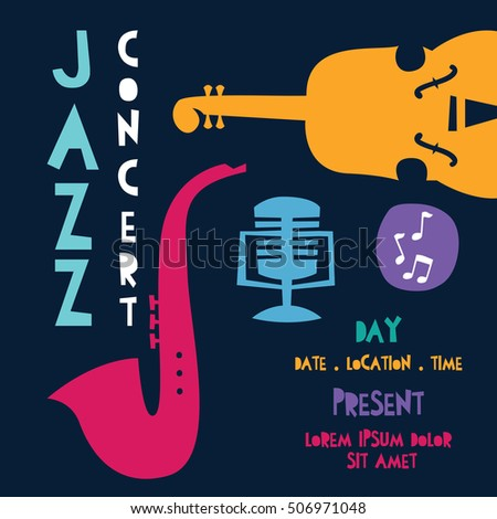 Jazz Festival Music Concert Poster Template Stock Vector 506971048 ...