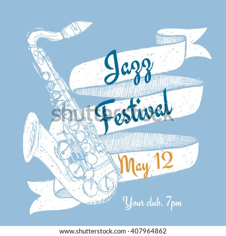 Jazz festival poster in vintage style, vector - stock vector