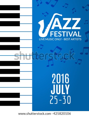 Jazz festival poster with a saxophone. Musical flyer design template. - stock vector
