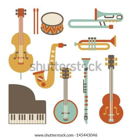 Jazz instruments set. isolated on white - stock vector