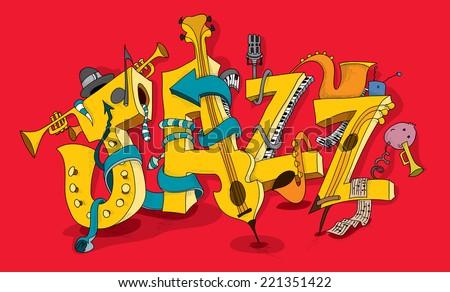 Jazz music Abstract Art, Festival, Carnival, Event, Saxophone, Trumpet, Piano (vector Art) - stock vector