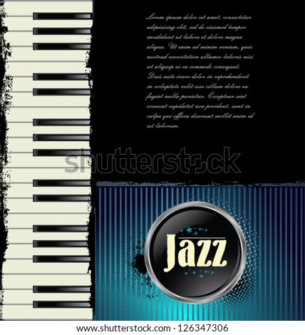 Jazz music background with piano - stock vector