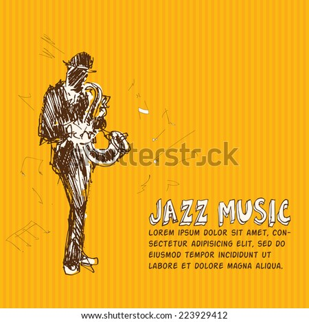 Jazz music. Color hand drawn graphic illustration - stock vector