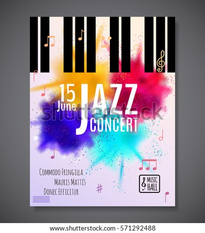 Jazz Music Concert Poster Background Template Keyboard With Notes Flyer Vector Design