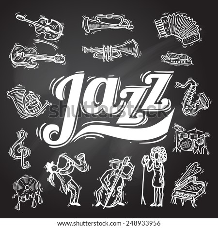 Jazz music decorative icons chalkboard set with instruments musicians and vinyl isolated vector illustration - stock vector