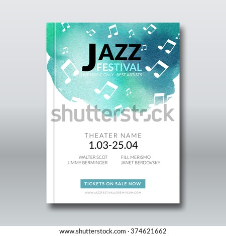 Jazz music vector poster design. Watercolor stain background. Abstract background for card, brochure, banner, web design, music billboard template.  - stock vector