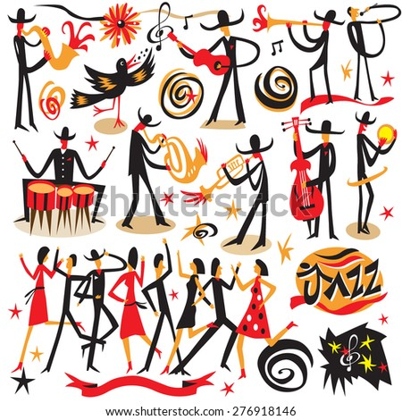 jazz musicians  - icons set . Isolated on white background. - stock vector