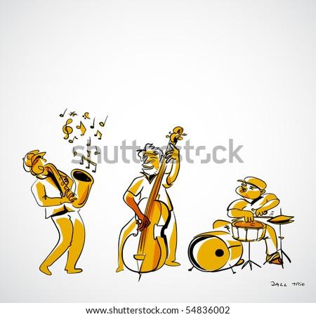jazz musicians illustration - jazz trio - stock vector