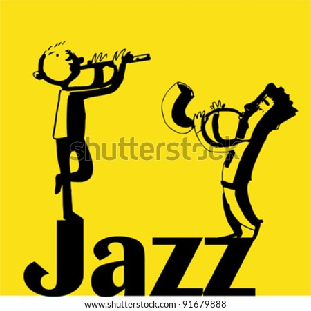 Jazz musicians  on a yellow background - stock vector