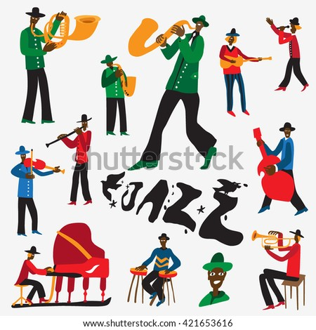 jazz musicians - vector cartoons set 1