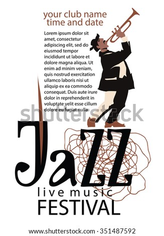 Jazz poster concept. Man playing trumpet. Jazz inscription. Use for jazz festival poster, jass club, live music cafe and web design. Easy editable elements. Isolated on white background. - stock vector