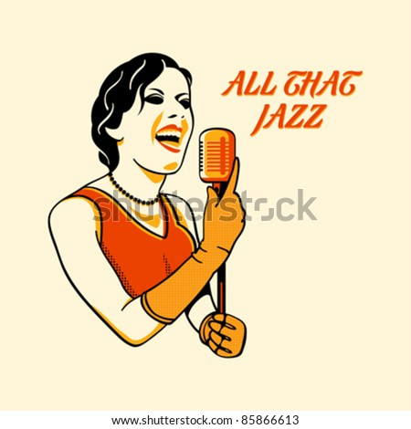 Jazz singer in three color print halftone pattern