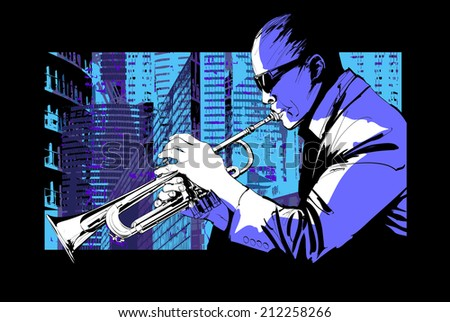 Jazz trumpet player over a city background - Vector illustration - stock vector