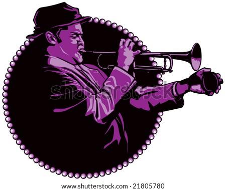 jazz trumpeter - stock vector