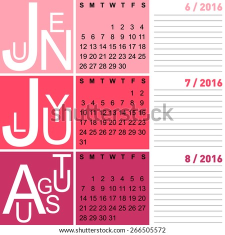 ... calendar, summer months including june, july and august, vector, eps10