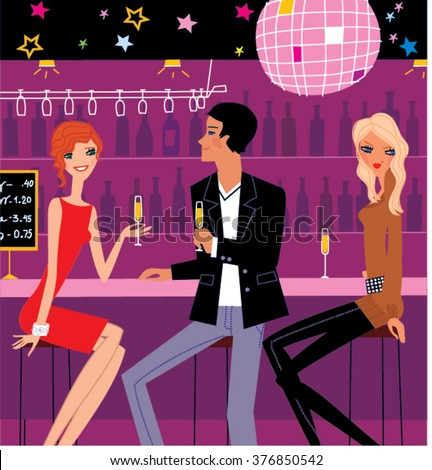 Jealous woman. Two girls and a man sitting in abar. Jealous woman picture. Jealous woman vector. Love triangle. Jealous girl.