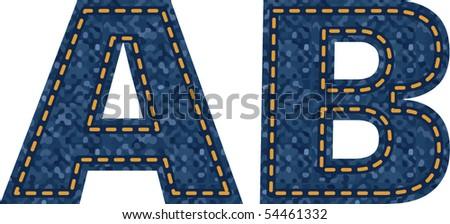 jeans alphabet - stock vector
