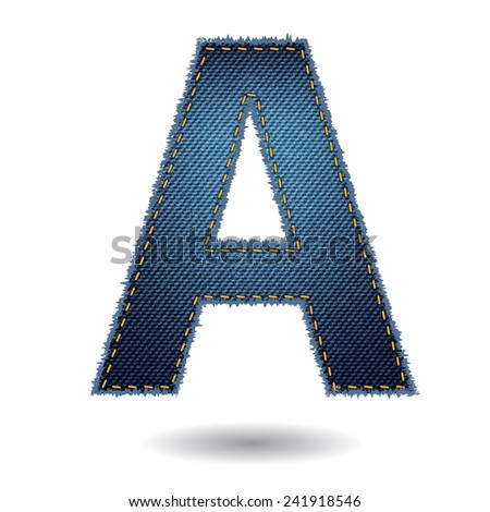 Jeans alphabet ( A ) isolated on white background, Vector illustration template design - stock vector
