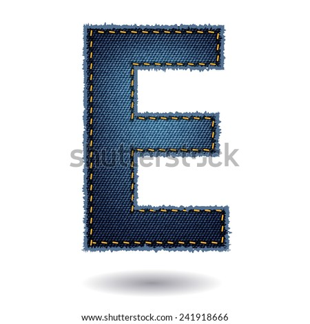 Jeans alphabet ( E ) isolated on white background, Vector illustration template design - stock vector