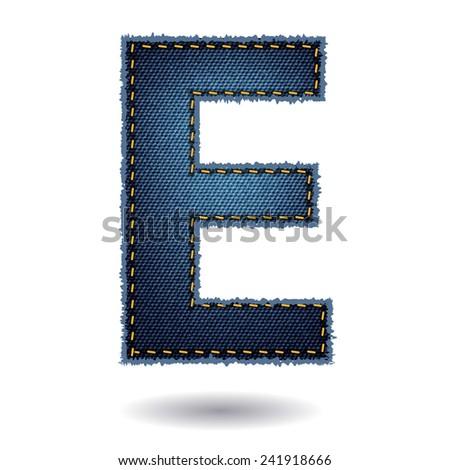 Jeans alphabet ( E ) isolated on white background, Vector illustration template design - stock vector