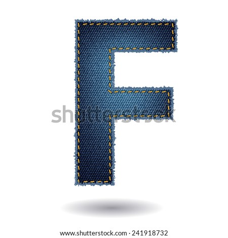 Jeans alphabet ( F ) isolated on white background, Vector illustration template design - stock vector