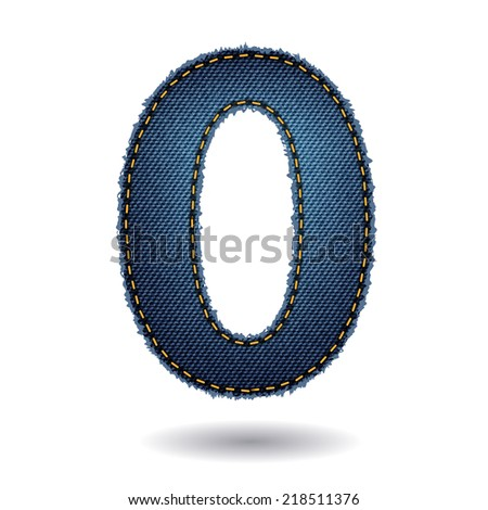 Jeans alphabet letters number 0, Vector illustration modern template design