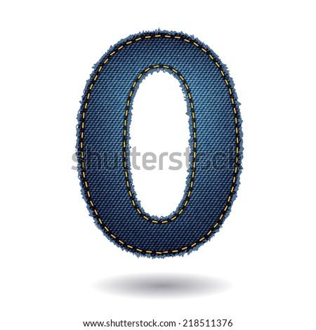 Jeans alphabet letters number 0, Vector illustration modern template design - stock vector