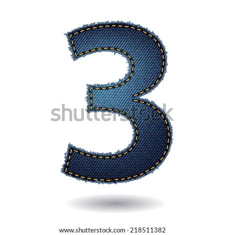 Jeans alphabet letters number 3, Vector illustration modern template design - stock vector