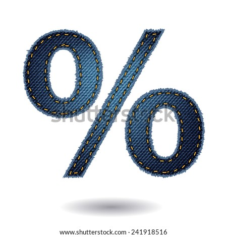 Jeans alphabet percent sign isolated on white background, Vector illustration template design - stock vector