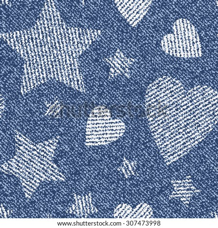 Jeans Background With Hearts And Stars Vector Denim Seamless Pattern Valentines Day Wallpaper
