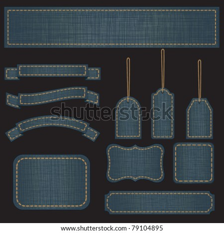 Jeans banners and labels - stock vector