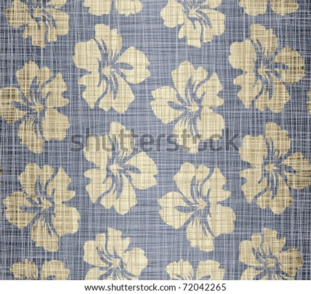 Jeans fabric with drawing flowers - stock vector
