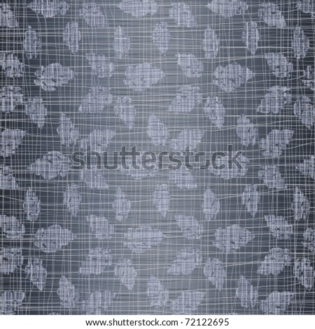 Jeans fabric with drawing leaves - stock vector