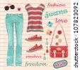 Jeans fashion set. vector - stock vector