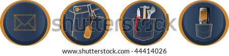 Jeans icons - stock vector