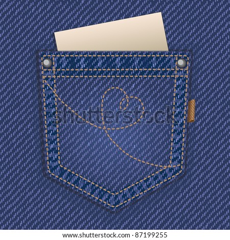 Jeans pocket - stock vector