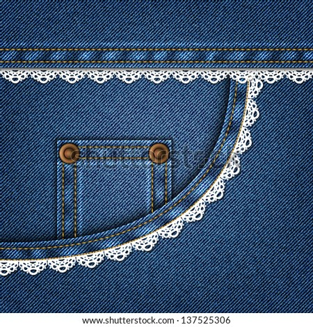 Jeans pocket with lace in vector EPS 10. - stock vector