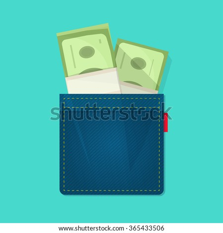 Jeans pocket with pile of paper money, concept of wallet, bag with cash heap, income, benefit, expenses, allowance savings, good success deal flat cartoon modern design vector illustration isolated - stock vector