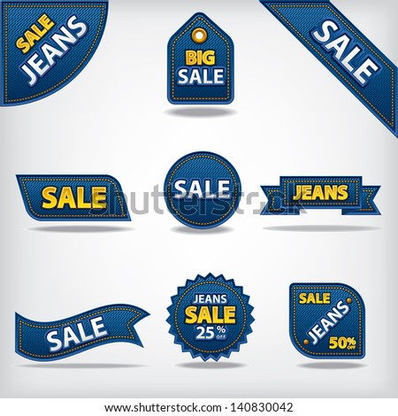jeans sale labels and stickers