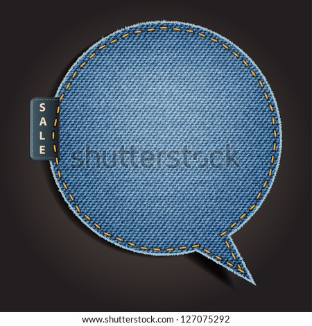 Jeans texture background on retro style speech bubbles, stickers, labels, tags. Vector template design - stock vector