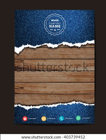 Jeans texture on wood background, Business brochure flyer design layout template in A4 size, Vector illustration modern design ( Image trace of wooden background )