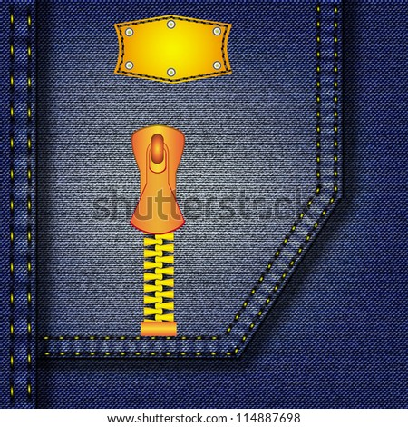 Jeans texture with leather label and the castle. Vector, background