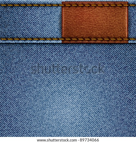 Jeans texture with leather label. Vector eps10 background - stock vector